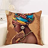 RABUIT African Print Throw Pillows Covers,18x18 Set of 1,Brown African Decorative Decor, Black Girl American Pillow Covers, Cushion Cases for Living Room Sofa Bed Chair(A(Indians-4))