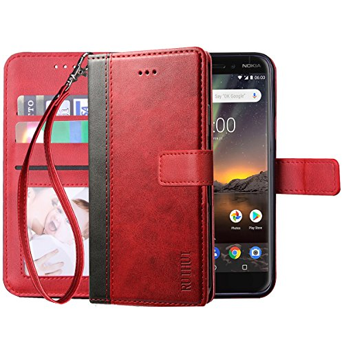 Nokia 6.1 2018 Case,Nokia 6 2018 Case,(Not for Nokia 6 2017 ),RUIHUI Leather Wallet Folding Flip Protective Case Cover with Card Slots,Kickstand Feature and Magnetic Closure[Wrist Strap Edition],Red