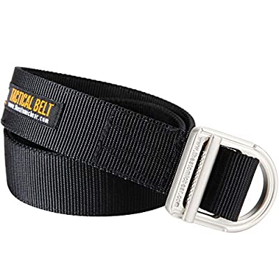 Gun Belt & Tactical Belt – Heavy Duty Belts 2-Ply 1½ inch Nylon for Concealed Carry CCW Holsters and Everyday Carry EDC Gear Mens Police Military Security Guard Hiking Outdoor Hunting Molle – Black
