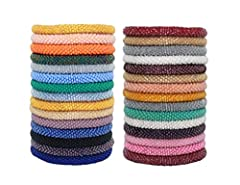 12 Randomly selected Solid color bracelets Handmade in Nepal Materials: Glass seed beads, cotton thread Gift-ready in a recycled cotton pouch 7 inches (17.7 cm) easy to rolling over most wrist sizes (One size fit most)