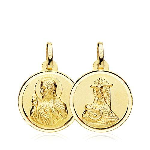 Colgante Medalla Virgen de las Angustias y Corazón de Jesús Oro Amarillo 18 Kilates 16 MM
