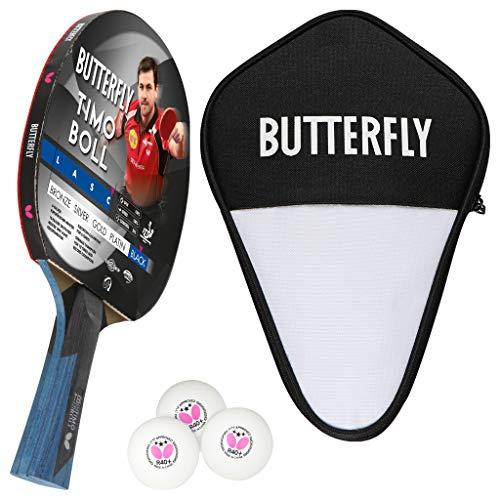Butterfly Timo Boll Black Tischtennisschläger + Tischtennishülle + 3*** ITTF G40+ Tischtennisbälle | Tischtennis Wettkampfschläger Set Tischtennisschlägerset