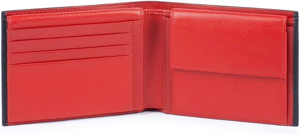 Piquadro splash, portafoglio, porta carte di credito, porta documenti, in pelle, nero/rosso, 12 cm PU1392SPLR/NR