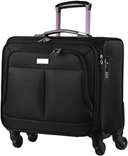 AirTraveler Rolling Briefcase 4 Wheels Rolling Laptop Bag Computer Roller Bag Spinner Mobile Office Carry On Luggage Built-in TSA Lock for 14.1in 15.6in Buisness Notebook for Women Men