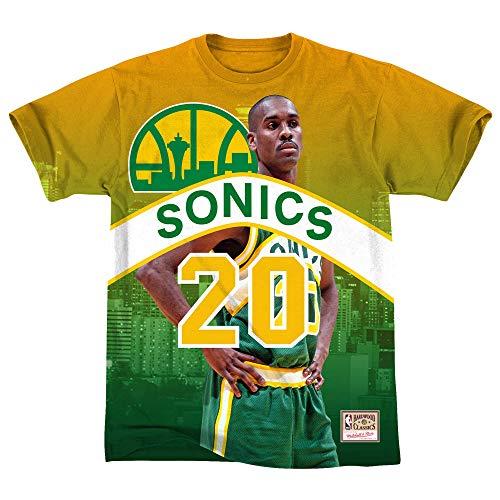 Mitchell & Ness - Maglietta da uomo NBA Seattle Supersonics Gary Payton City Pride multicolore M