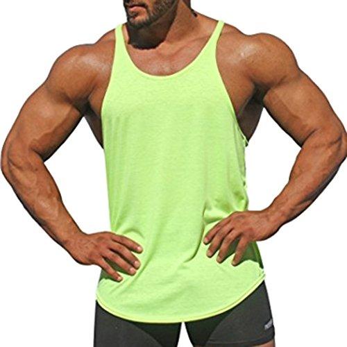 JiXuan Plain Tank Tops Hombres Cothes Culturismo Stringer Fitness Singlet Corssfit Camisas Chalecos Sin Mangas Verde M