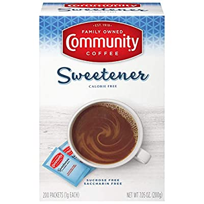 Community Coffee Blue Sweetener Packets, 200 Count (Pack of 4)
