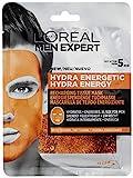 L'Oréal Paris Men Expert Hydra Energetic, Mascarilla de Tejido Energizante para Hombres