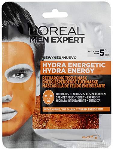 L'Oréal Men Expert Hydra Energy feuchtigkeitsspendende Tuchmaske, für Männer, belebt, pflegt und reinigt wirkt porenminimierend (30 g)