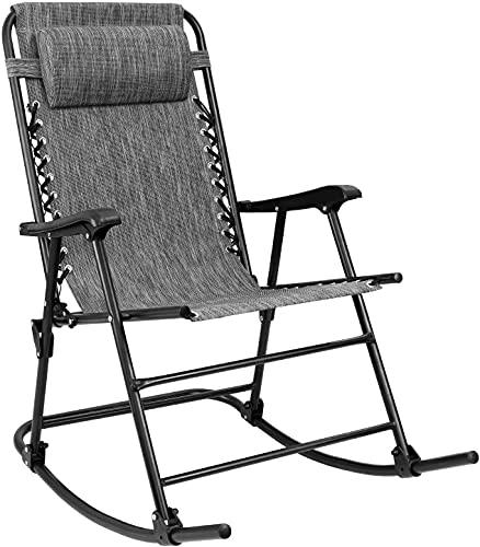 Furniwell Patio Rocking Zero Gravity Chair Outdoor Wide Recliner Portable Lounge Chair Folding with Headrest for Camping Fishing Beach Poolside (Grey)