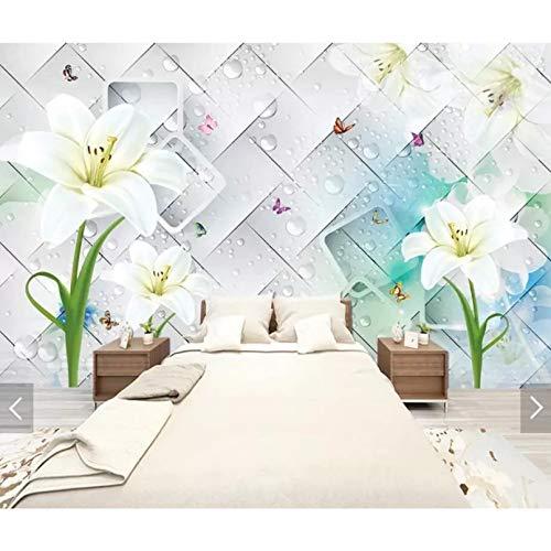 Papel tapiz mural de pared azul cuadrado geométrico de lirio 3D papel tapiz floral de pared para decoración de pared de sala de estar-250X175cm