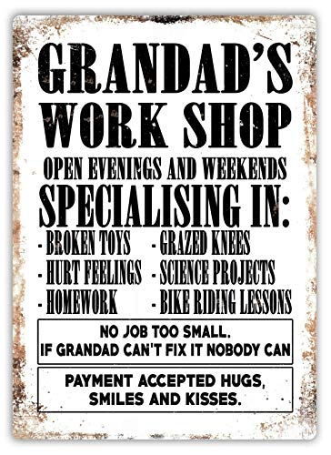 Odeletqweenry Grandad's Workshop Metal Plaque Tin Wall Sign Retro Iron Warning Wall Poster for Cafe Pub Bar Gaming Room Wedding Gift Aluminum Sign 12 x 18 Inch
