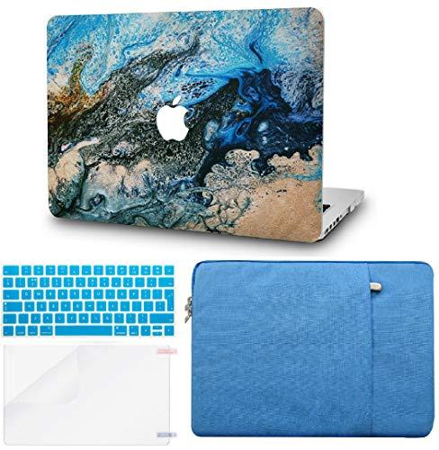 KECC MacBook Pro Retina 13 Zoll Hülle Schutzhülle Case w/EU Tastaturschutz + Tasche + Bildschirm Schutz Pro 13.3 Hülle {A1502/A1425} (Meer)