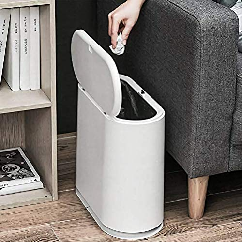 Trash Can 10 Liter / 24 Gallon Plastic Slim Garbage Container Bin with Press Top Lid White Waste Basket for Kitchen Bathroom Living Room Office Narrow Place