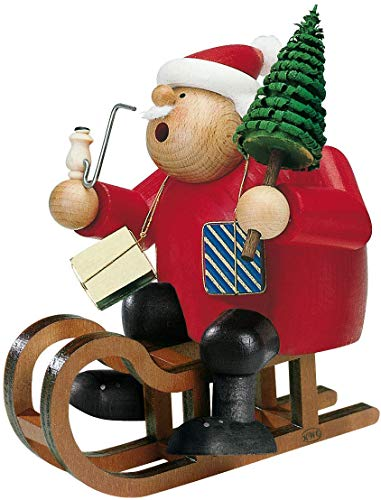 KWO Santa on Sled German Christmas Incense Smoker Handcrafted in Germany New