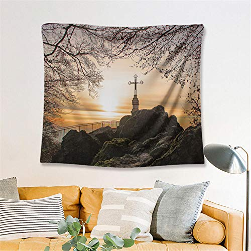 Mountain Top Sunset Tapestry Landscape Wall Hanging Wall Decoration Home Decoration Yoga Blanket Beach Towel Background Cloth,S/100x150cm(39'x59'),Ssfj04