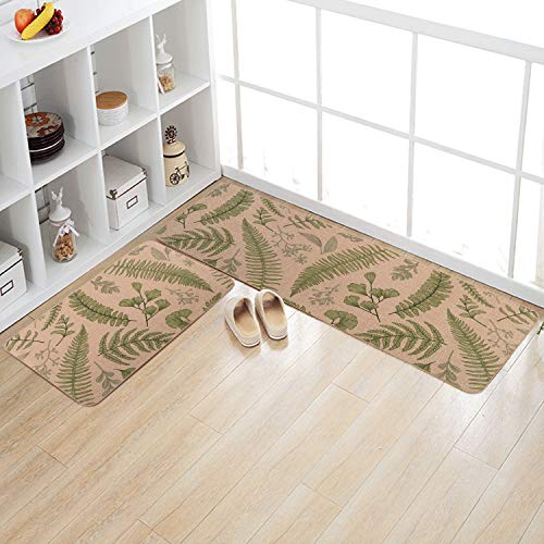 Kitchen Rugs and Mats Set, KIMODE 2 Piece Farmhouse Microfiber Kitchen Rug Runner, Non Slip Waterproof Comfort Soft Standing Kitchen Floor Mats (18