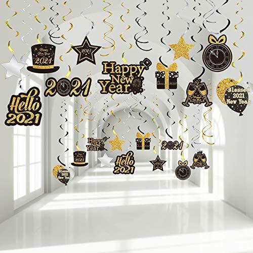 Remolinos Colgantes de Fiesta de Año Nuevo,  Remolinos de Papel de Aluminio de 2021 Happy New Year Plata Negro Oro Brillante Decoraciones de Techo para Fiesta Nochevieja,  30 Piezas
