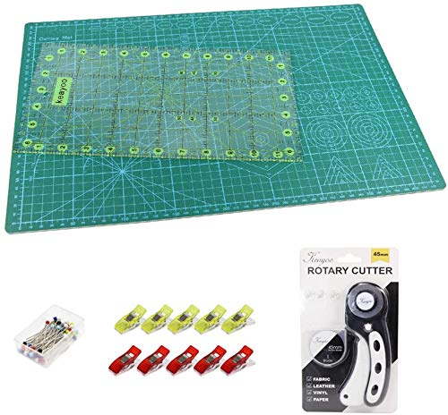 KEAYOO 45mm Rotary Cutter Quilting Kit,Quilting Supplies,A3 Cutting Mat Set of 6 (Ruler in inches),Ideal for Crafting, Sewing, Patchworking & Knitting