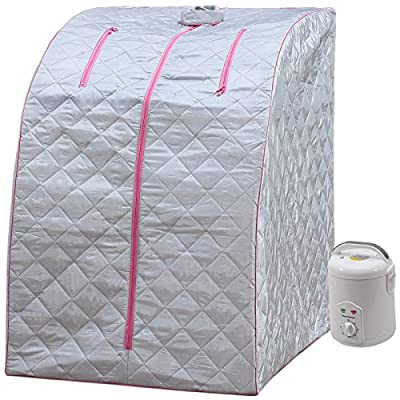 Lightweight Personal Steam Sauna by Durasage for Relaxation at Home, 60 Min Timer - Pink