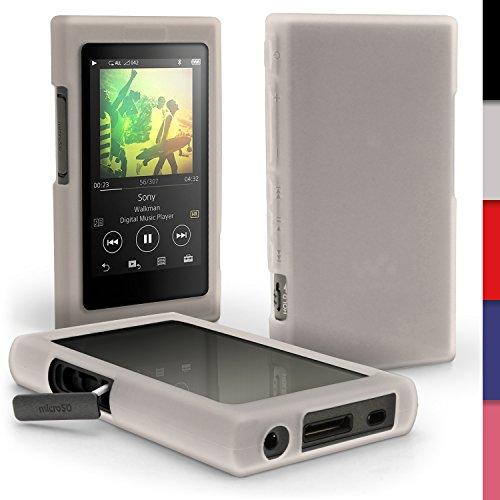 igadgitz U6411 Funda Carcasa Silicona Case y Protector de Pantalla Compatible con Sony Walkman NW-A35, NW-A40, NW-A45 - Esmerilado Transparente