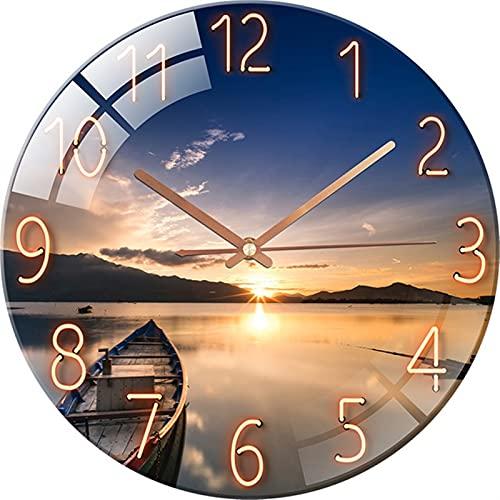 Joyería Reloj de cuarzo de cristal de moda de 12 pulgadas Casa de baño tranquilo silencioso silencioso reloj de cristal templado reloj de pared reloj de pared ( Color : C , Sheet Size : 1pcs 12 Inch )