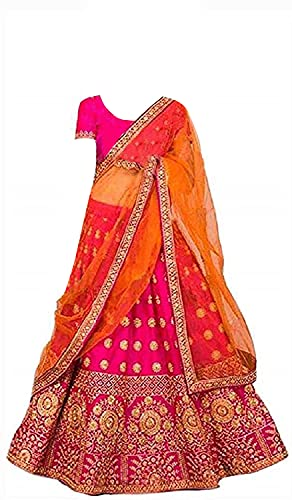 New Fashion Adda Girl's Net Semi stitched Lehenga Choli (Kids_Pink_Orange007_Multicolored_Free Size)
