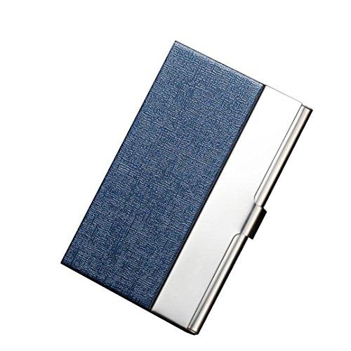 Billetera Tarjetero Metalico Hombre Rfid Tarjeteros Mujer Tarjetas Credito De Visita Baratos Marca Caja Del Paquete Del Sostenedor De La Tarjeta (Azul, 9.6cm(L)6.5cm(W)1.3cm(H))