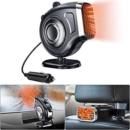 WonVon - Calentador de coche para descongelar calefactor eléctrico, 12 V, 150 W, 360 °, rotación rápida, calentador de coche, removedor de niebla, calentador de coche y furgoneta