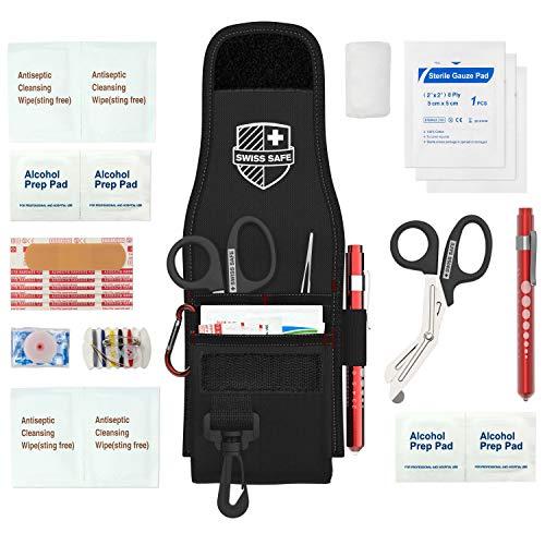 Medical EMT Trauma Shears/Scissors, Pupil Light, Tweezers with Tactical First Responder Tool Belt Holster + Bonus Essential Emergency First Aid Supplies...