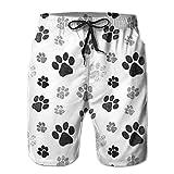 best gift Men's Beach Shorts Pants Unique Men's Sport Half Short Pants Dog Paw Print Pants M