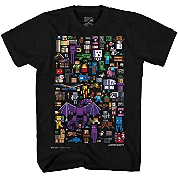 Minecraft Mobbery Big Poster Kids Tee Shirt Gathering Epic Mobs and Friends- Medium Black