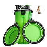 RIZON Tragbare Haustier Wasserflasche 2-in-1 Set mit Faltbar Hunde Reisenapf