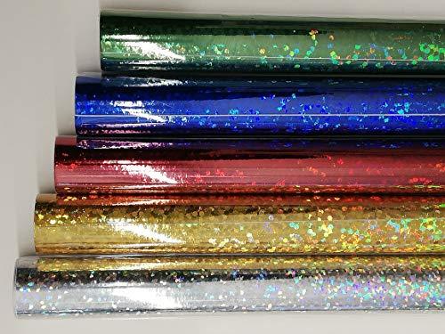 HOLOGRAMMFOLIE, 5 Rollen farbig sortiert, 1m x 33cm, selbstklebend