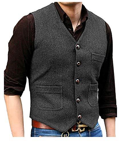 Pretygril Herren V-Ausschnitt Wolle Herringbone Tweed Casual Weste Anzug Weste(Grau, XL)