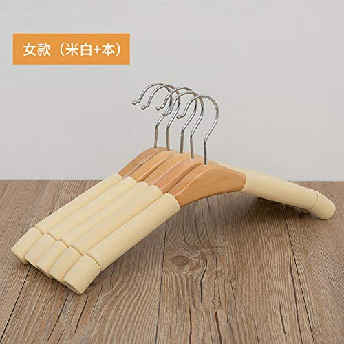 Hanger massief hout spons, multifunctionele huishoudelijke anti-slip slip-antislip, vrouwen ronde haak, broek rek, 5 stuks-[Off-white + dit]_