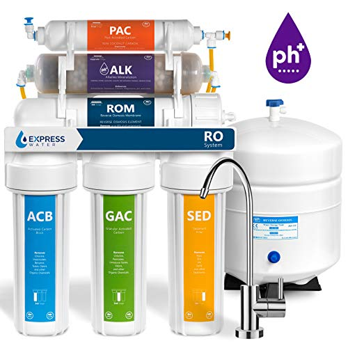 Express Water Reverse Osmosis Alkaline Water Filtration System – 10 Stage RO Water Filter with Faucet and Tank – Under Sink Water Filter – with Alkaline Filter for added Essential Minerals – 50 GPD