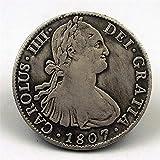 Chaenyu Dólar de Plata español 1807 Moneda de Carlos IV Moneda Conmemorativa colección de Regalo Adorno de Monedas