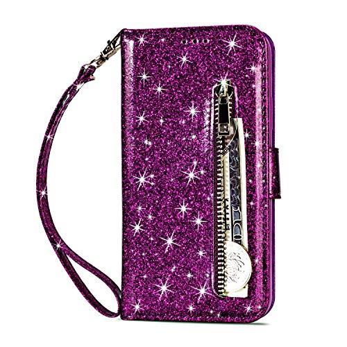 Artfeel Reißverschluss Brieftasche Hülle für Huawei Mate 20 Pro, Bling Glitzer Leder Handyhülle mit Kartenhalter,Flip Magnetverschluss Stand Schutzhülle mit Tasche und Handschlaufe-Lila