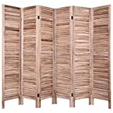 Giantex 6 Panel Wood Room Divider, 5.6 Ft Tall Oriential Folding Freestanding Partition Privicy Room Dividers Screen for Home, Office, Restaurant, Bedroom (Brown)