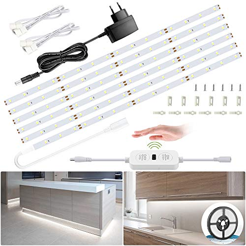 6M Tiras LED Regulables 12V, Ustellar 360 LEDs Clips 1800lm, Tira LED Luz Blanco Frío 6000K, LED Mano Sensor Movimiento Enchufe, Decoración Iluminación Ambiental para Gabinete, Armario