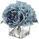 Fiori finti in vaso di seta peonia, ortensia con acqua sintetica per decorazione domestica, matrimoni, feste, fiori artificiali, peonia, ortensia in vaso di vetro per centrotavola, blu