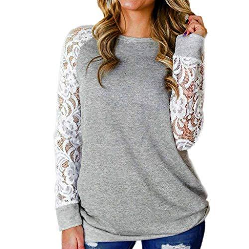 TAMALLU Women T-Shirt Fashion Lace Floral Splicing Round Neck Long Sleeve Blouse Tops(Grey,XS)