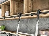 Diyhd - escalera de acero para bibliotecas con ruedas de 39 3/8 pulgadas, color negro, estilo granero deslizante, sin escalera, sin rodillo de suelo)