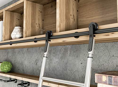 Schwarze Stahlwalzen-Bibliothek-Strichleiter-Kleinteile, die Stall-Art-Schiene Installationssatz (keine Strichleiter schieben, keine Fußboden-Rolle)