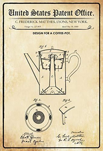 FS Patent Entwurf für Kaffeekanne-Matthes Blechschild Schild gewölbt Metal Sign 20 x 30 cm