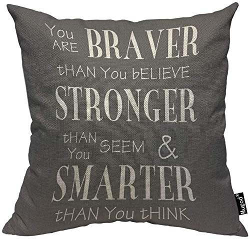 Bernice Winifred Inspirational Life Quotes Pillow Cover You are Braver Than You Believe Grey White Decorative Throw Pillow Cases Cotton Linen Indoor Square Cushion Covers for Home Sofa Couch(22'x22')