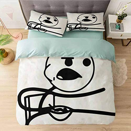Bedding Duvet Cover 3 Piece Set Californai King, Funny Stickman on The Table with Grumpy Forever Alone Fac, Comforter Cover with Zipper Closure and 2 Pillow Shams