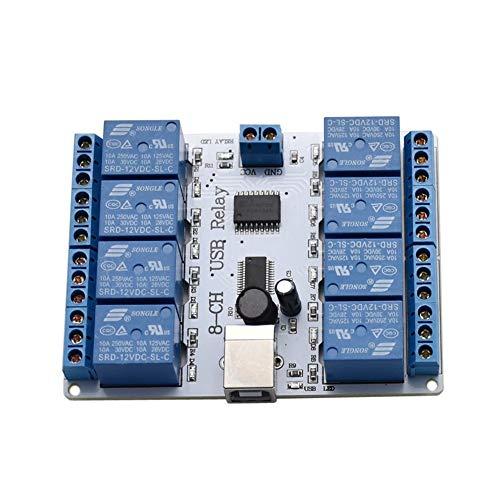 Módulo de relé USB SainSmart 12V de 8 canales Opto-pareja para Arduino Robotics Blue