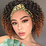 Aisaide Afro Kinky Curly Wig Headband Wigs for Black Women,Short Ombre Brown Wig with Headband Attached Natural Full Afro Wig HeadWrap Wigs 2 in 1 Synthetic Deep Curly Wigs for Women Scarf Wig Turban